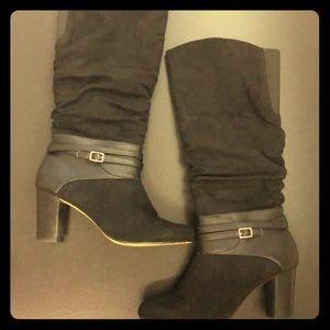 Knee high black suede dress boots - wide width